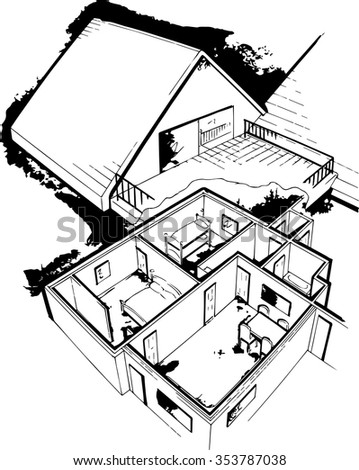 perspective architectural visual of building layout