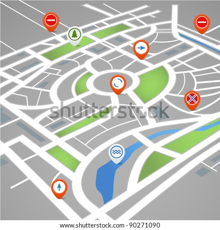 Perspective background of abstract city map with symbols - stock vector