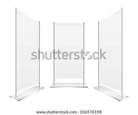 perspective Blank roll up banner display vector - stock vector