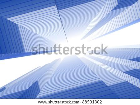 Perspective city vector background - stock vector