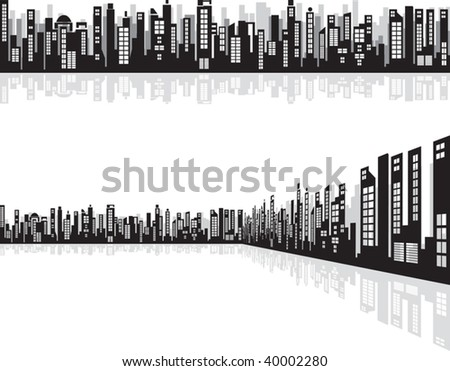 Perspective Cityscape with reflection Vector - stock vector