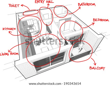 Perspective cut-away diagram of a 1-bedroom apartment, completely furnished with red hand drawn room definitions over it - stock vector