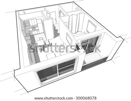 Perspective cutaway diagram of a one bedroom apartment, completely furnished
