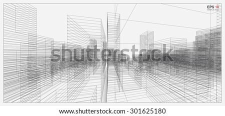 Perspective 3D render of building wireframe. Vector blueprint background. - stock vector