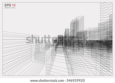 Perspective 3D render of building wireframe. Vector blueprint background of cityscape. - stock vector