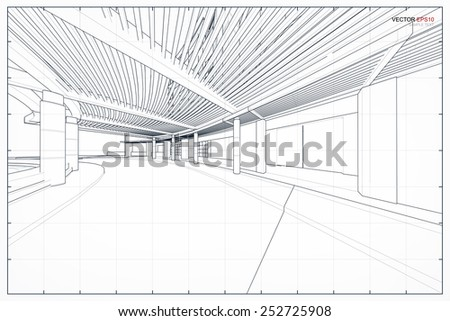 Perspective 3D render of building wireframe. Vector illustration. - stock vector