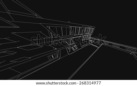 Perspective 3D render of building wireframe - Vector illustration