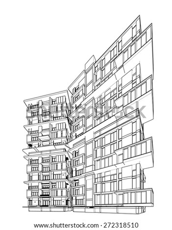 transparent wireframe graphic modern apartment house stock