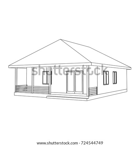 Perspective 3d Suburban House Drawing Modern Stock Vector