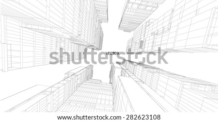 Perspective 3d Wireframe of building - stock vector