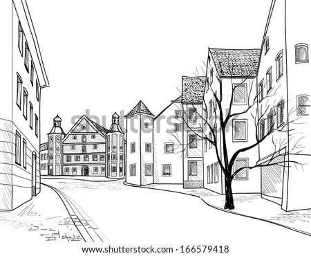 Perspective houses sketch. Pedestrian street in the old European city Burglengenfeld, Bavaria, Germany. Hand drawing background with church. Historical cityscape.