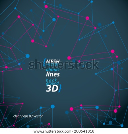 Perspective polygonal construction figure isolated on dark background, 3D wireframe spatial clear eps 8 vector illustration, medical cross theme. - stock vector