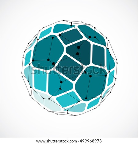 Perspective technology shape with black lines and dots connected, polygonal wireframe object. Abstract green faceted element for use as design structure on communication technology theme