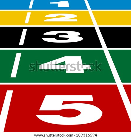 Perspective vector of start or finish position on running track. - stock vector