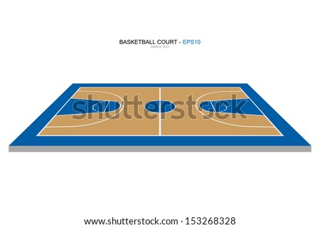 Perspective view of basketball court - Vector illustration - stock vector