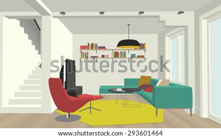 Perspective view of the interior of the living room - stock vector