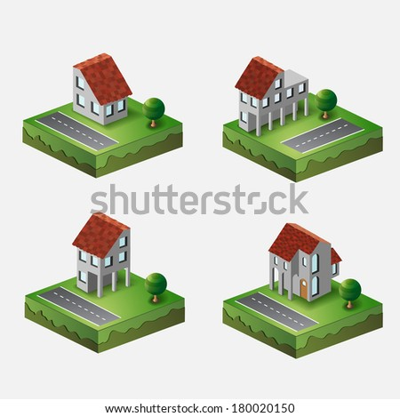 Perspective view of the village houses in the vector - stock vector