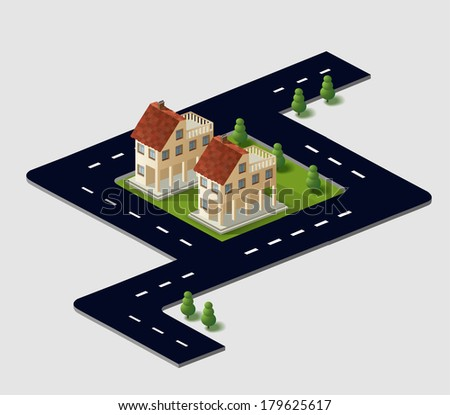 Perspective view of the village houses in the vector in the sky
