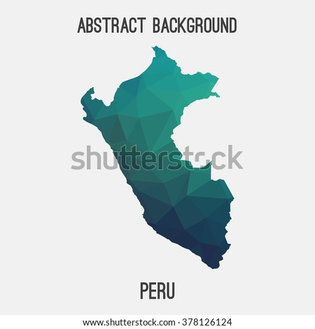 Peru map in geometric polygonal style.Abstract tessellation,modern design background. Vector illustration EPS8