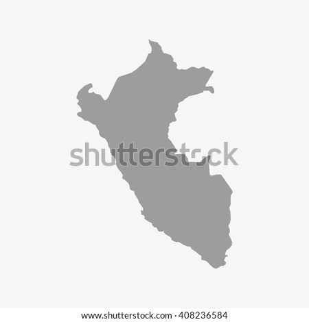 Peru  map in gray on a white background - stock vector