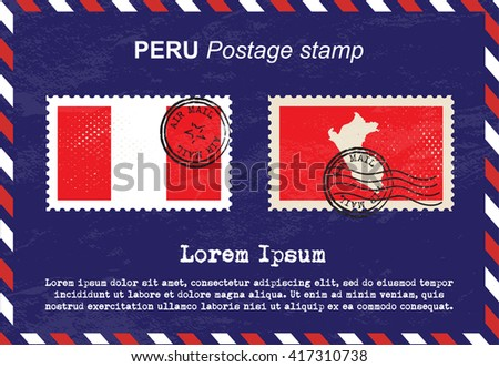 Peru postage stamp, postage stamp, vintage stamp, air mail envelope. - stock vector