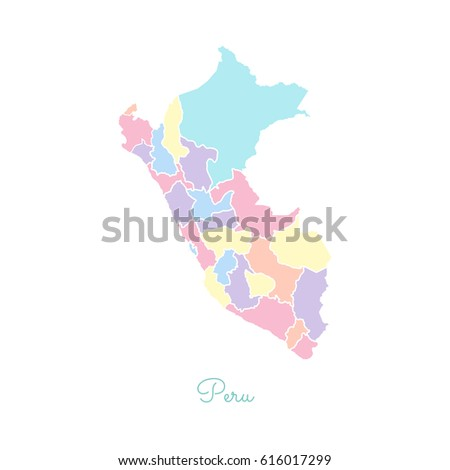 Peru Region Map Colorful With White Outline Detailed Map Of Peru Regions Vector