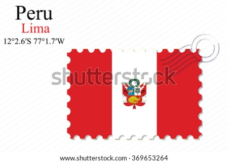peru stamp design over stripy background, abstract vector art illustration, image contains transparency