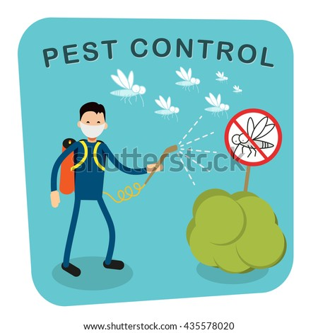 Pest control banner design. Service Employee pest control man in uniform with balloons and sprays. Banner for web page or website. Sign of a red circle with an insect. Flat vector illustration - stock vector