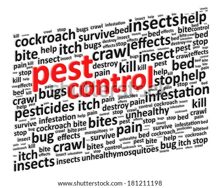 Pest Control For Bugs And Rodents Word Cloud Vector Illustration - stock vector