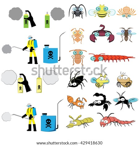 pest control graphic include sprayer, cockroach, fly, spider, ant, scorpion, mosquitoes, termite, centipede  - stock vector