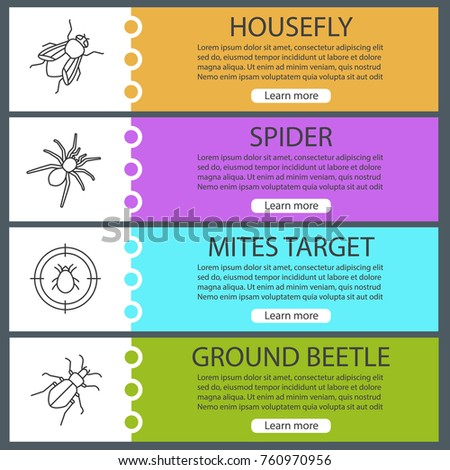 Pest Control Web Banner Templates Set Stock Vector 760970956 ...
