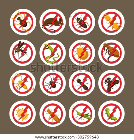 Pests, Insects, Bugs, Prohibition and Repellent Signs, Caution, Warning, Danger, Hazard, Symbol Set - stock vector