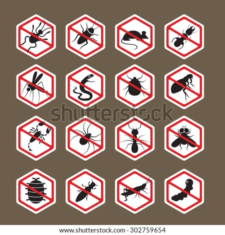Pests, Insects, Bugs, Prohibition and Repellent Signs, Caution, Warning, Danger, Hazard, Symbol Set, Hexagon Shape - stock vector