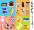 pet animals and objects - stock vector