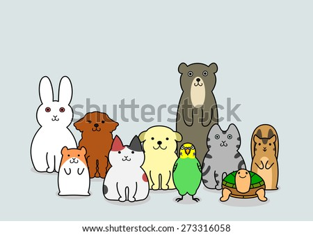 pet animals group - stock vector