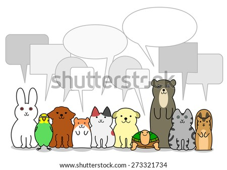 pet animals group with speech bubbles - stock vector