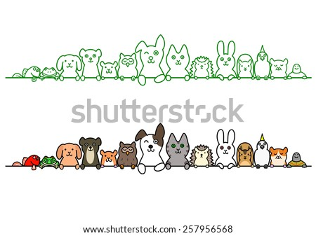 pet animals in a row with copy space - stock vector