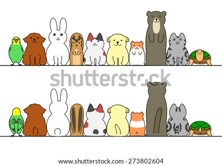 pet animals in a row with copy space,front and back - stock vector