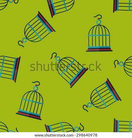 Pet bird cage flat icon, eps10 seamless pattern background - stock vector