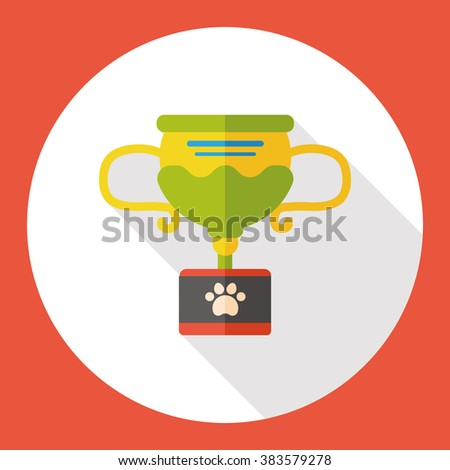 pet champion trophy flat icon