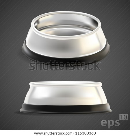 Pet chrome food bowl, empty, chrome metal with black edging, eps10 vector mesh - stock vector