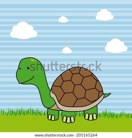 Pet design over landscape background, vector illustration - stock vector