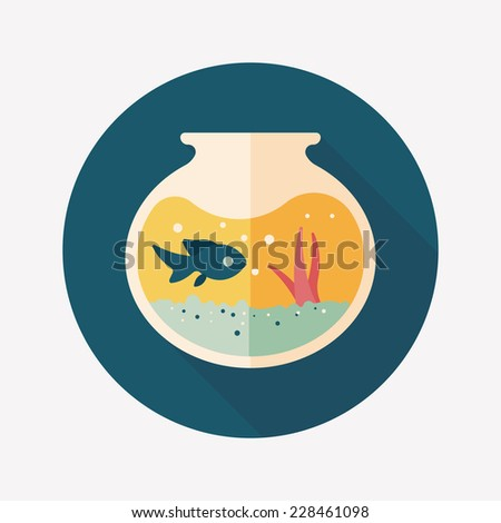 Pet fish bowl flat icon with long shadow,eps10 - stock vector