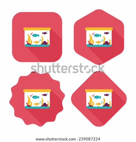 Pet fish flat icon with long shadow, eps10 - stock vector