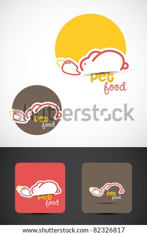 Pet food Icon such logo with a rabbit and a carrot, Vector EPS10. - stock vector