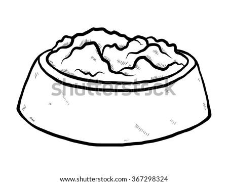 Rice Bowl Cartoon Vector Illustration Black Stock Vector 245022310 - Shutterstock