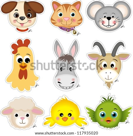 Pet head cut - stock vector