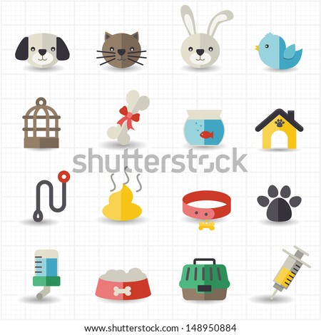 Pet icons - stock vector