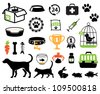 Pet icons collection - stock photo