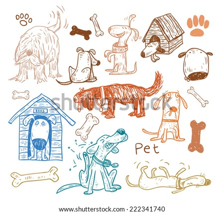 Pet icons doodle set, vector illustration.  - stock vector